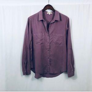 Cloth & Stone purple tunic button shirt medium